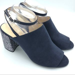 Nine West suede glitter block peep toe heels A0121